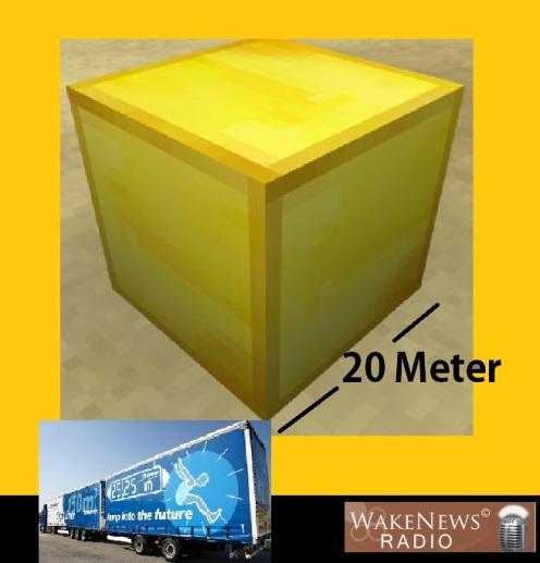 20 Meter Goldblock mit LKW-Vergleich