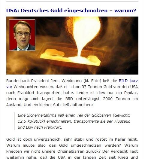 Deutsches Gold eingeschmolzen - warum