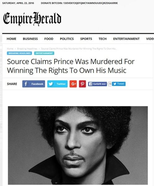 Prince Murdered For Music Rights